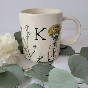 Anthropologie Dagny Botanical letter K mug